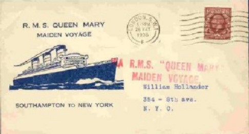 another First Day Cover commemorating the maiden voyage of the Queen Mary