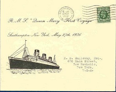 First Day Cover commemorating the maiden voyage of the Queen Mary